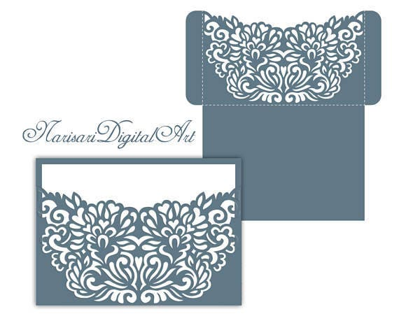 Laser Cut Wedding Invitation Pocket Envelope 5x7 Svg Etsy
