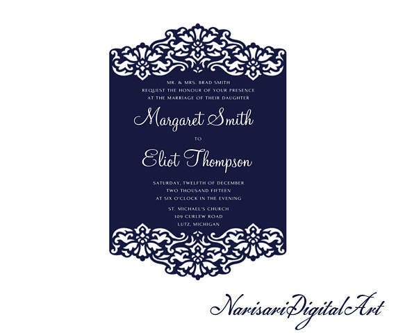 Ornamental Wedding Invitation Card Template 5x7 Lace Vector Design Dxf Svg Cutting File For Silhouette Cameo Cricut Cutting Machines