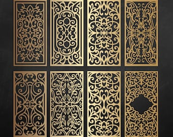 Ornamental laser cut panels, vector file / svg, dxf, png - cnc plans design, screen cricut / silhouette cameo cutting machine pattern