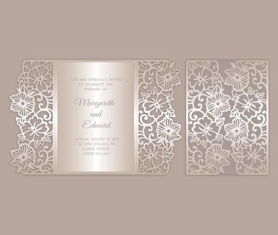 Floral Gate Fold Wedding Invitation Template Laser Paper Cut Envelope Svg Dxf Ai Silhouette Cameo Cricut Files Instant Download