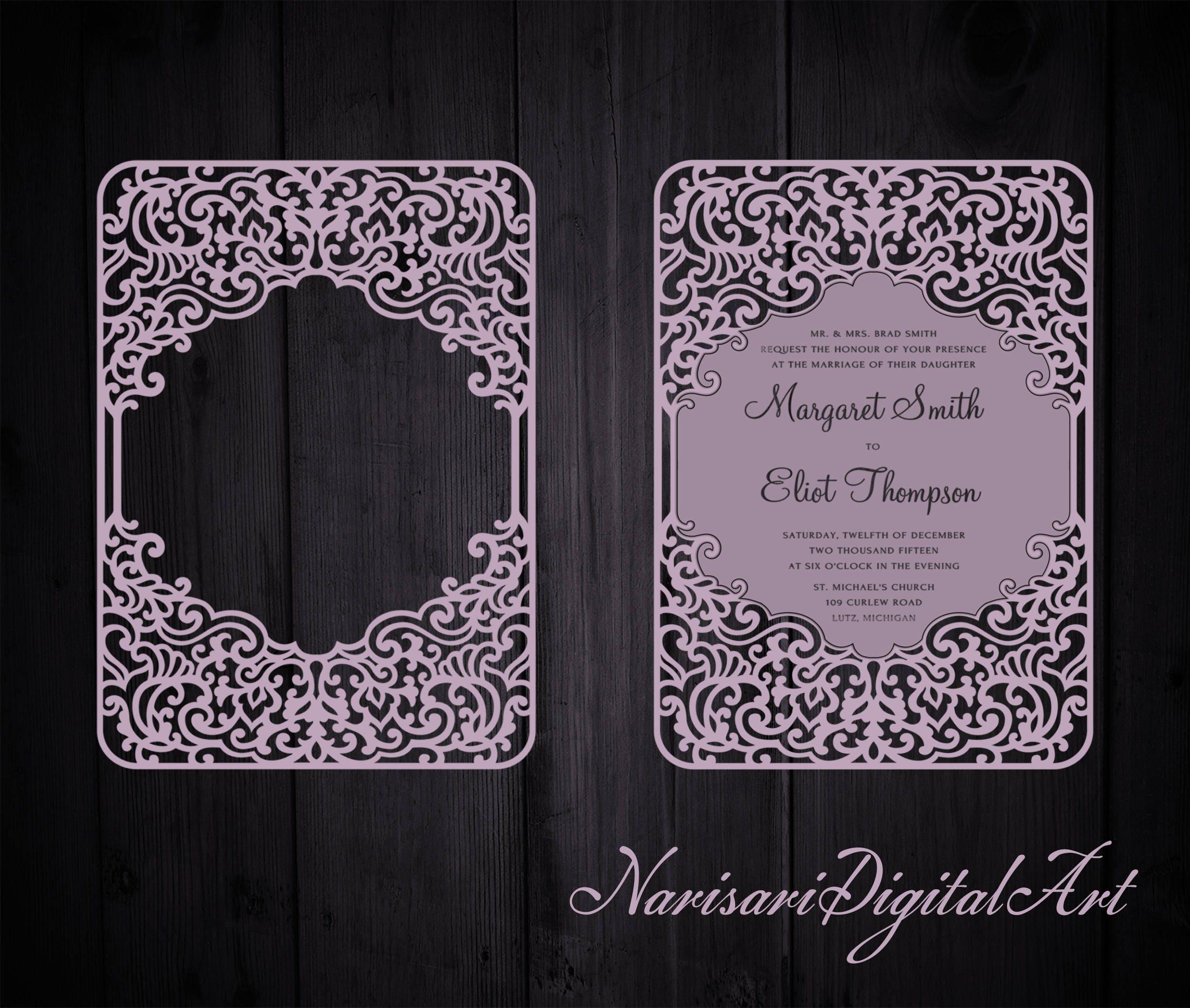 Ornamental Wedding Invitation Frame Card template | Etsy