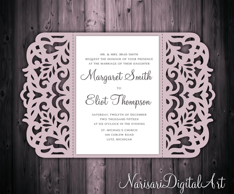 5x7\'\' Gate-fold Wedding Invitation Card Template Quinceanera | Etsy