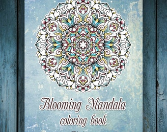 50 Coloring Pages, Blooming Mandala Art Therapy  Adult Coloring E-Book, (Volume1) Printable PDF Instant Download