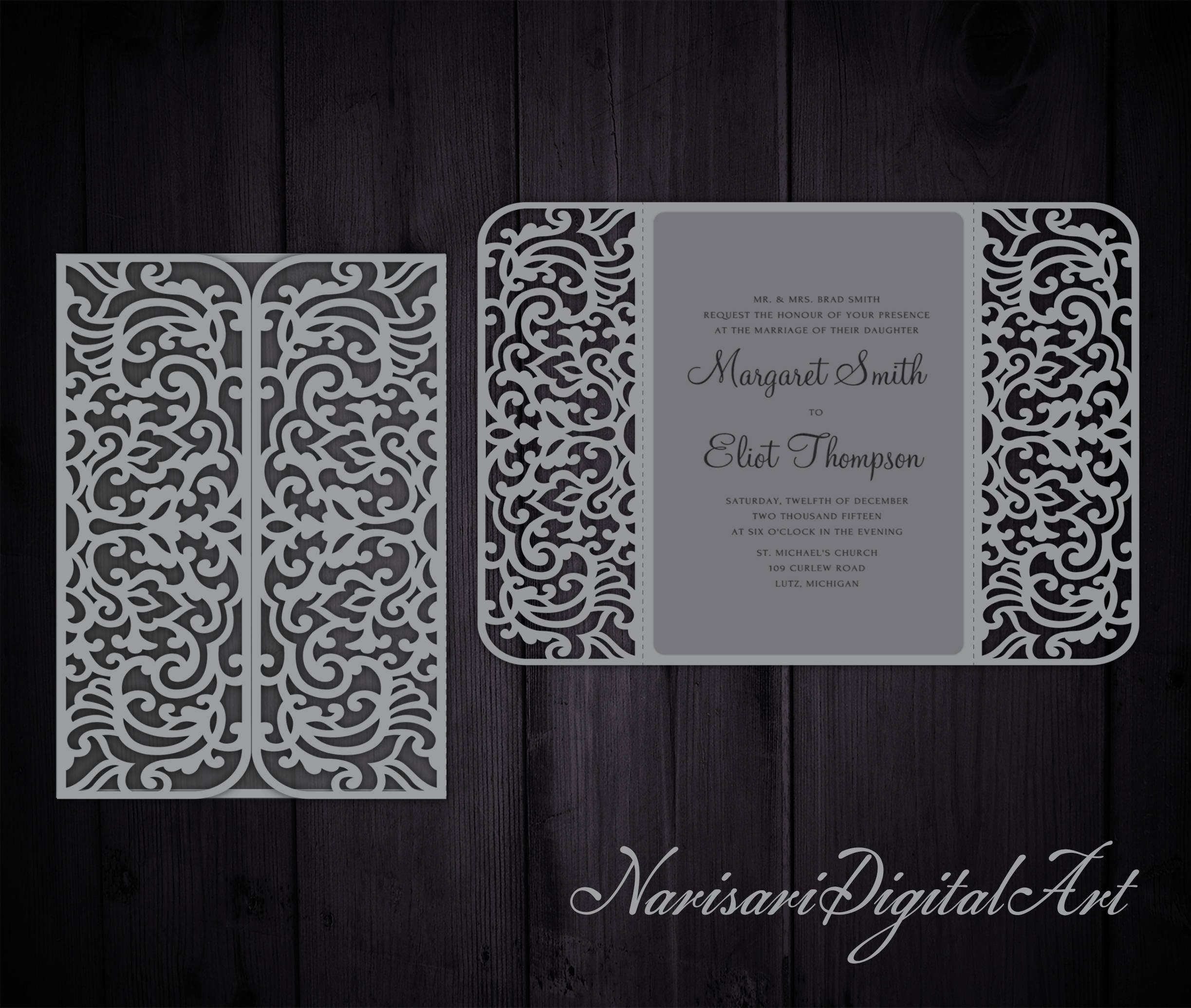 Intricate 5x7\'\' Gate fold Wedding Invitation Card Template | Etsy