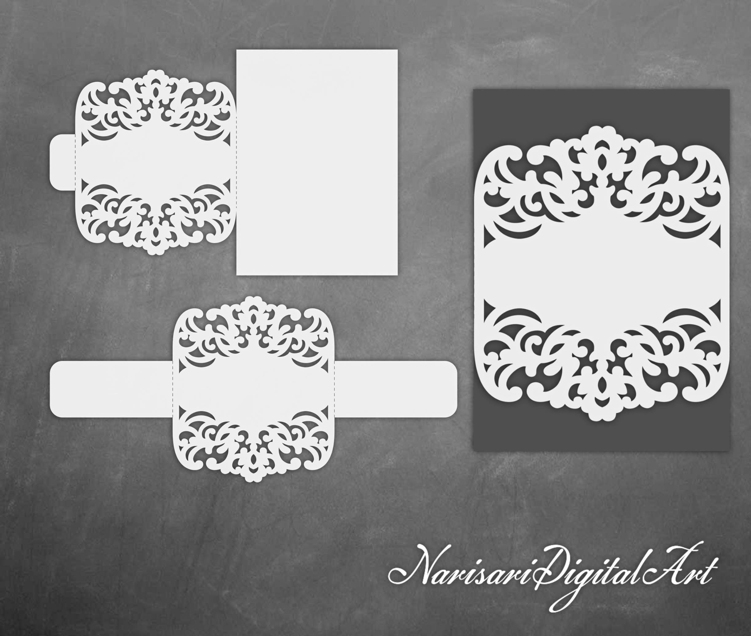 Belly band Wedding Invitation cutting file. Laser cut lace | Etsy