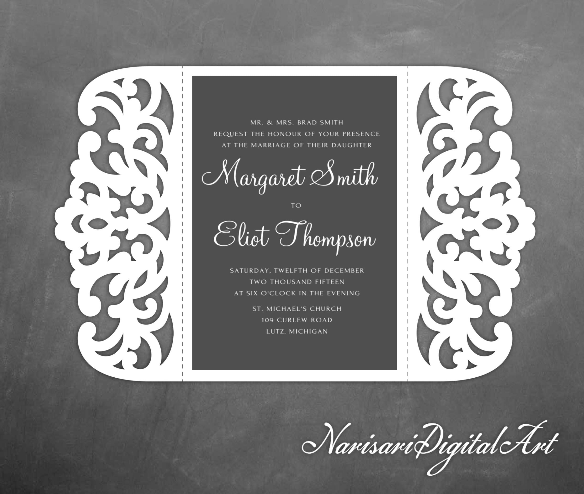 Gate fold Laser cut Wedding invitation 5x7 lace Card | Etsy