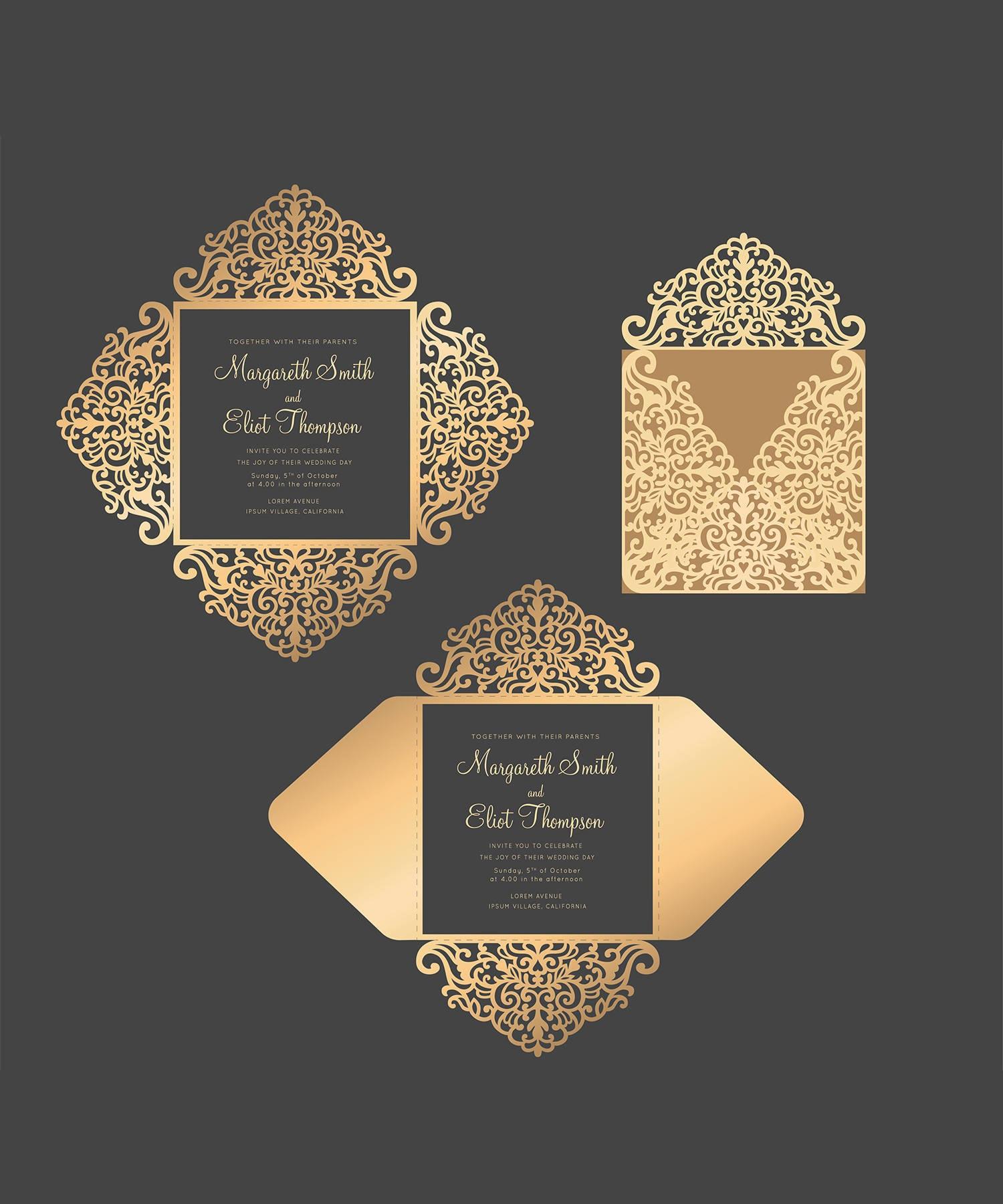 Wedding Invitation Envelopes Canada: Laser Cut Wedding Invitation Four-fold Envelope SVG