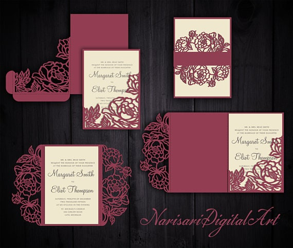 Peonies Set Cricut Wedding Invitation Template Gate Fold Tri Fold Pocket Envelope Bellyband Svg Cutting Files Laser Cut
