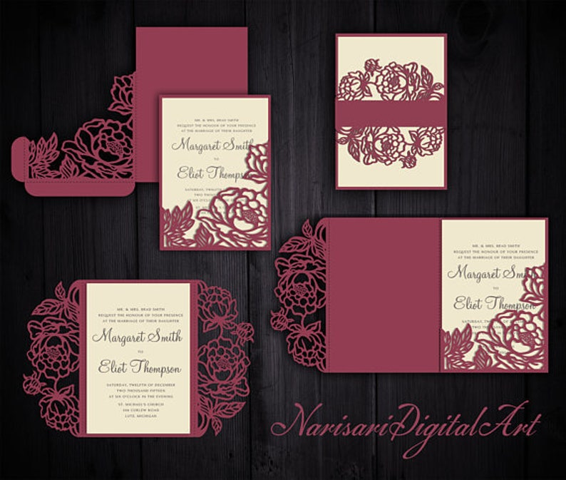 Peonies Set Cricut Wedding Invitation Template Gate Fold / Tri-Fold Pocket  Envelope / Bellyband  SVG cutting files, Laser cut