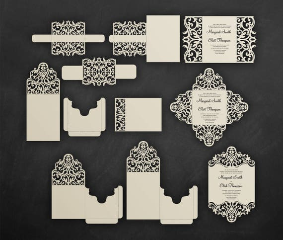 Set Laser Cut Wedding Invitation Templates Card Envelope Belly Band Rsvp Cutting Files Cricut Silhouette Cameo Svg Dxf Eps Cdr Invitation Kits Paper Party Supplies