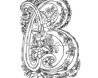 instant digital download coloring page letter D with | Etsy