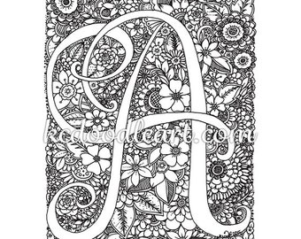 Instant Digital Download Coloring Page Letter D With Etsy