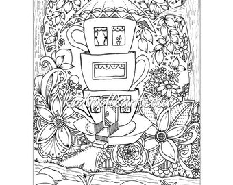 tea cup coloring pages Teacup coloring | Etsy tea cup coloring pages
