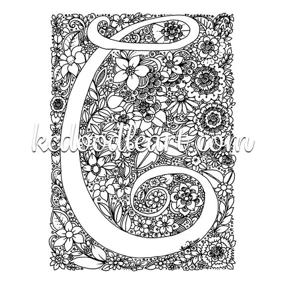 Instant digital download adult coloring page letter C with | Etsy