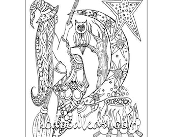 instant digital download - adult coloring page - halloween theme, cauldron, witch, owl, crescent moon, star.