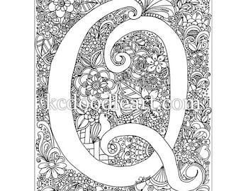 instant digital download, adult coloring page, letter Q