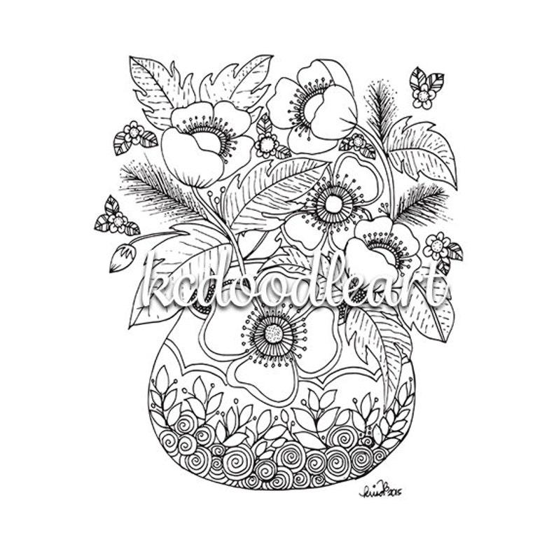 Kleurplaten Vaas Met Bloemen.Digitale Download Kleurplaat Pagina Bloemen In Een Vaas Etsy