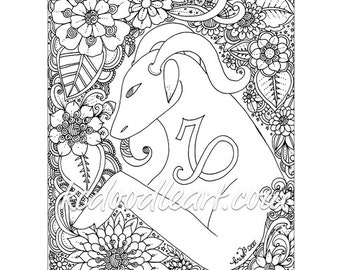 instant digital download - adult coloring page - astro sign capricorn