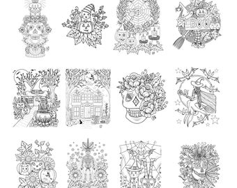 Kcdoodleart Halloween Coloring Pages - Instant Download