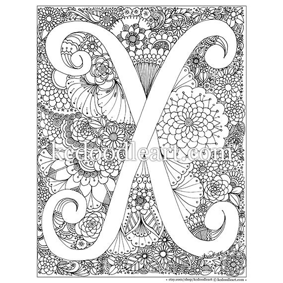 Instant Digital Download Letter X Adult Coloring Page Etsy