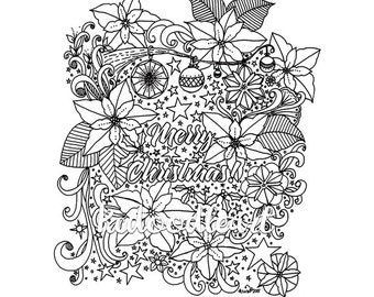 Instant Digital Download - Coloring Page - Merry Christmas