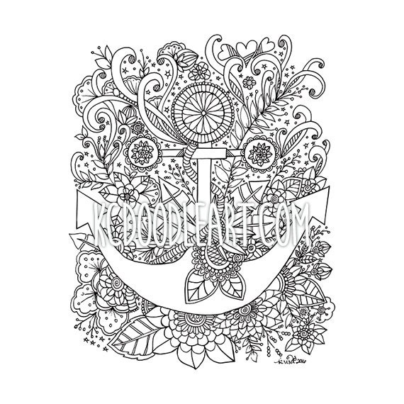 Instant Digital Download - Adult Coloring Page - Anchor