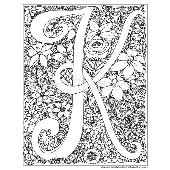 instant digital download adult coloring page letter K | Etsy