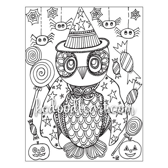 - Instant Digital Download Adult Coloring Page Owl Halloween Etsy