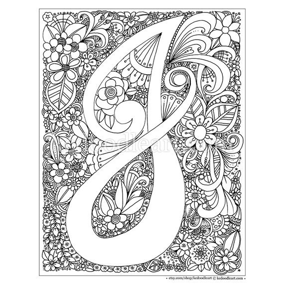 Instant digital download adult coloring page letter j etsy for Selling coloring pages on etsy