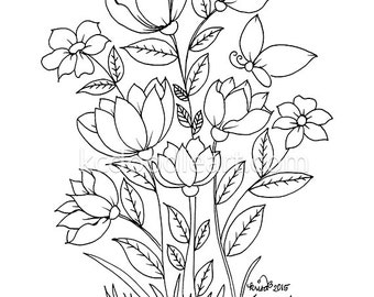 instant digital download, coloring pages for adults, flower designs