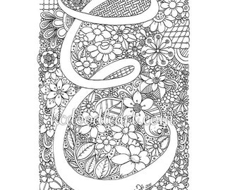 instant digital download - adult coloring page - letter E