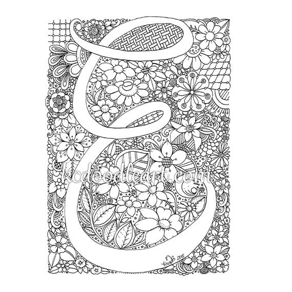 adult coloring pages letter a | instant digital download adult coloring page letter E