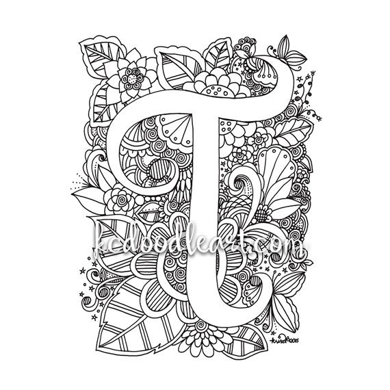 Instant Digital Download Adult Coloring Page Letter T Etsy