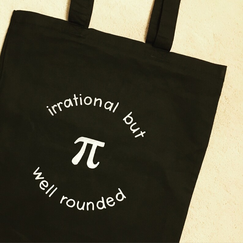 Pi Tote Bag Math Nerd Bag Irrational Number  Grocery Bag  Bicycle Bag  Beach Bag  Reusable Cotton Bag  Geek Gift Bag