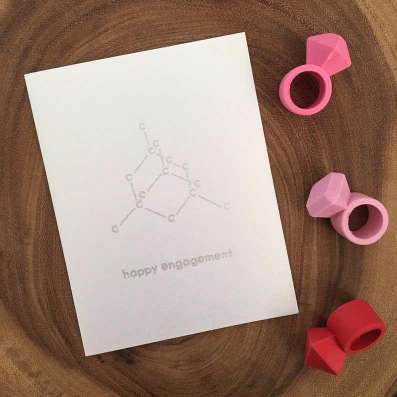 Diamond Molecule Engagement Card - Chemistry Science Geek Wedding Shower  Card - To be wed - to be married