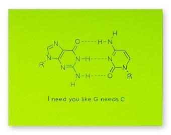 Biology Genetics Valentine Card | DNA Nucleotide Love Anniversary Chemistry Nucleotides Base Pair Science Biochemistry Scientist Chemist