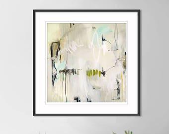 Abstract print large, minimalist print, abstract painting print, living room abstract art, abstract canvas art print, white, gray, aqua