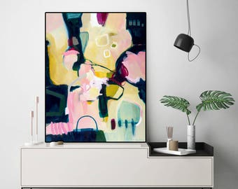 Extra large abstract painting print, abstract art print large, abstract artwork on canvas, large abstract art print pink, yellow, blue green