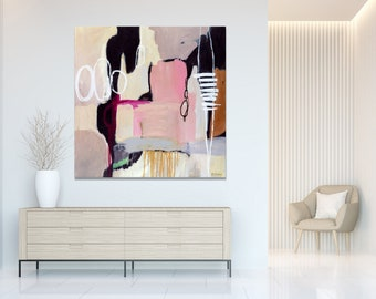 Large square modern minimalistic pink grey abstract painting, black, white, pink abstract art print, contemporary abstract canvas art print
