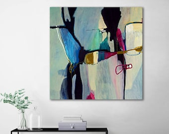 Blue abstract artwork, blue abstract painting print, large abstract print, office abstract art print, giclee print, Aquatic Ways 2