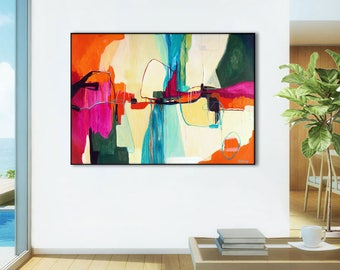Extra Large abstract painting print, ABSTRACT PRINT LARGE, abstract canvas art print, large abstract art, pink, orange, blue, cream