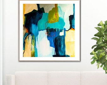 Blue Abstract print large, blue abstract painting print, large abstract art print blue, white, turquoise, yellow large abstract canvas art