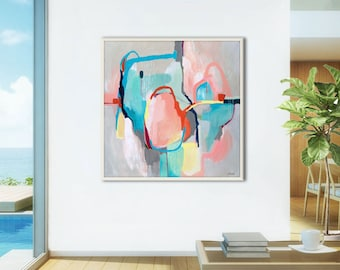 Abstract print, large gray abstract painting print, abstract canvas art large, pink, blue, grey abstract art print, large GICLEE PRINT