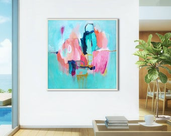 Coastal ABSTRACT PAINTING print, large blue abstract print, large abstract art print, Aqua, Blue Green, turquoise, pink abstract art print
