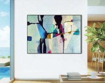 Office Abstract art print, abstract canvas art print, large abstract painting, abstract giclee, living room abstract artwork, Aquatic Ways