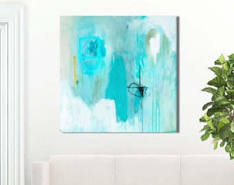 Large blue abstract painting print, large blue abstract print, blue canvas abstract, turquoise abstract art print, blue and white, Sempre