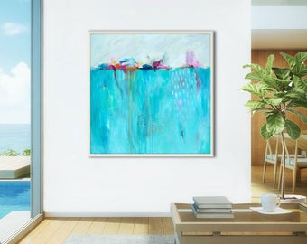 Large abstract painting print blue, abstract PRINT blue large, abstract canvas art print, large abstract art, coastal, turquoise, La Mer