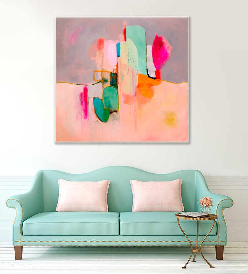 3aa46932f7 Large Abstract painting print in coral pink grey green and