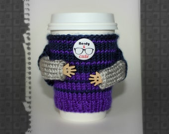 Coffee cozy. Gift for him. Nerdy and Cute travel mug cozy. Knit mug sweater. Boyfriend gift. Office coffee. Coworker gift. Cup sleeve.