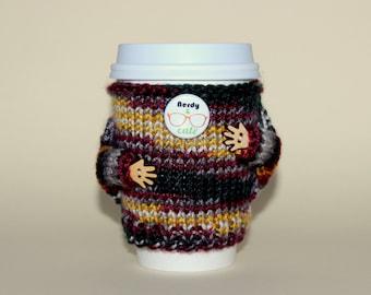 Nerdy Coffee cozy. Travel mug cozy. Knitted cup sweater. Coffee sleeve. Coworker gift. Boyfriend gift. Cup sleeve. Coffee sleeve.